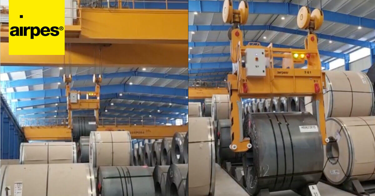 Installation of a new 36 t. coil lifting tong for Algeposa Group - Airpes